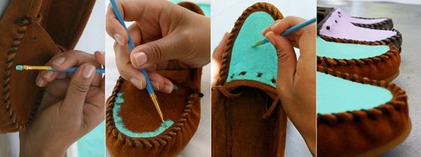 DIY Mocassim colorido - faça você mesmo - decore seu sapato