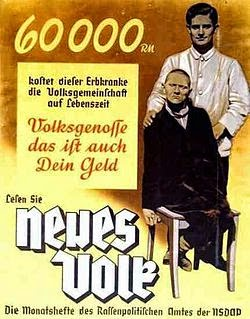 Picture of Nazi German propaganda poster in favor of euthanasia