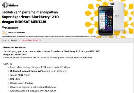 Harga Bundling Blackberry Z10 Indosat