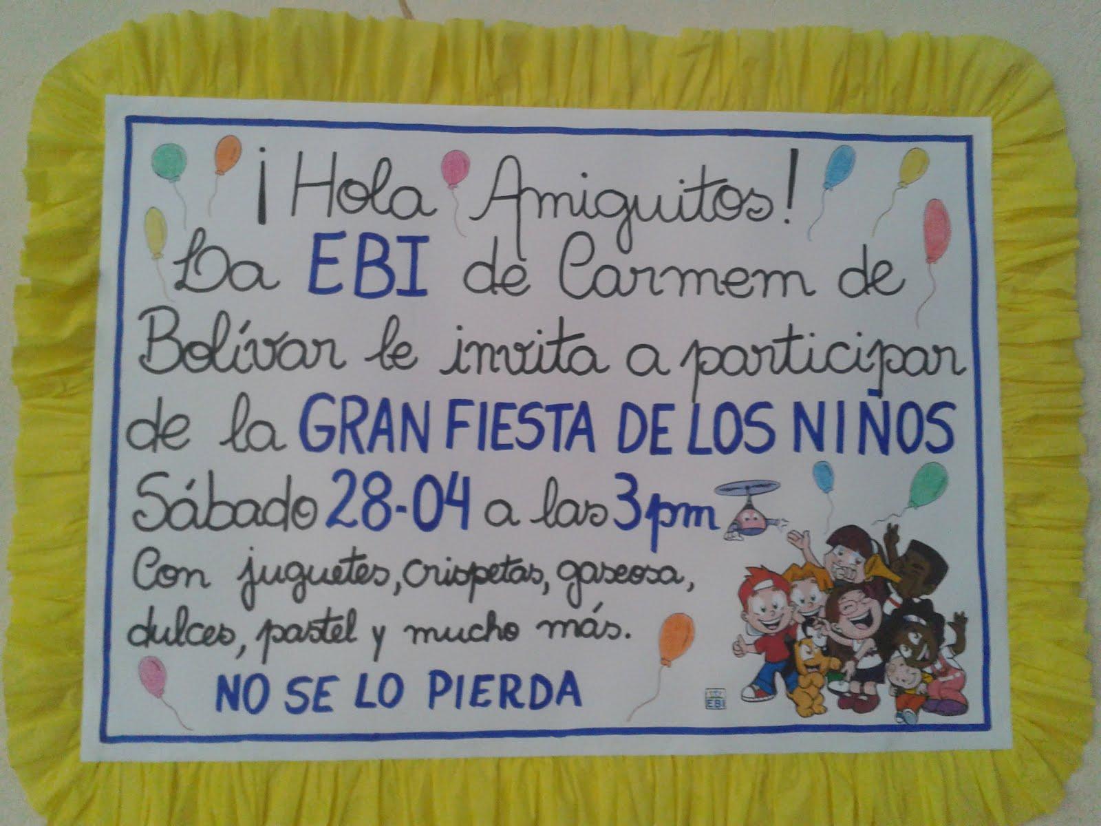 EBI COLOMBIA: Ejemplos para la fiesta de los niños