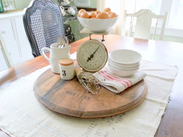 I Decided To Give The Dining Room Table A New Look. I Started With A Piece  Of A Grain Sack As A U0027runneru0027 Then Used An Old Whiskey Barrel Top As A Base.