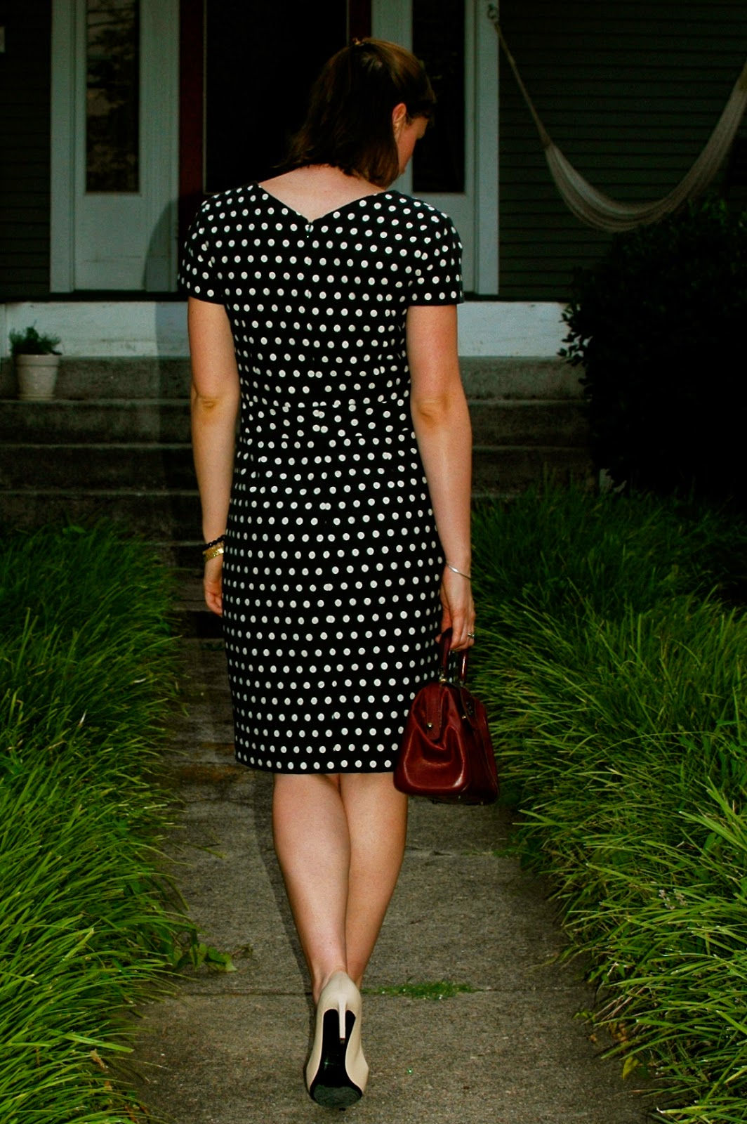 polka dots, Banana Republic Mad Men dress, YSL
