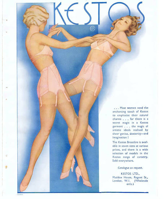 vintage kestos bra and girdle ad with finger waves