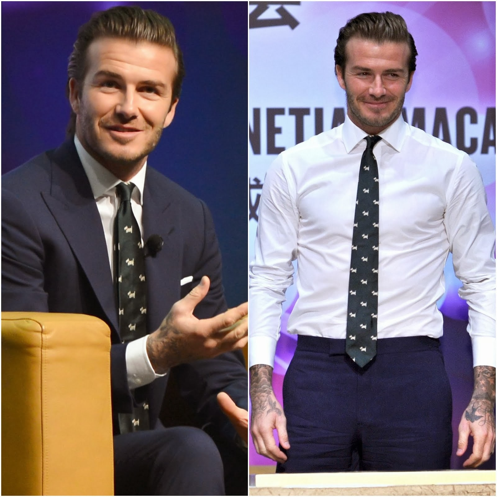 David Beckham's Polo Ralph Lauren Scottie dog necktie - Macau Handprint Ceremony November 2013