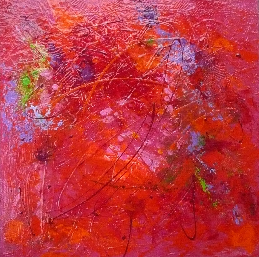 Fine watercolor art for sale - Acrylic Mixed Media Textured Red Contemporary Abstract Painting By Texas Daily Painter Nancy Standlee