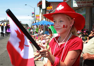 happy canada day girl with flag