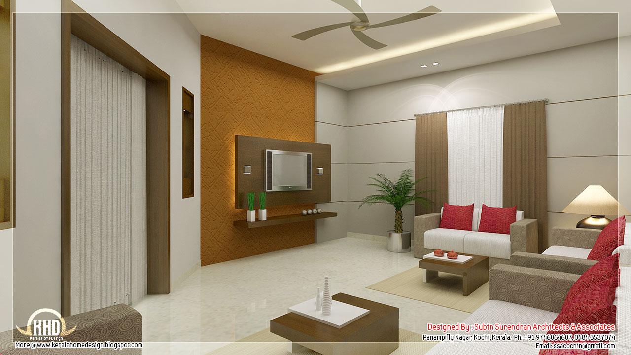 Awesome 3d interior renderings kerala house design Living room interior for small house