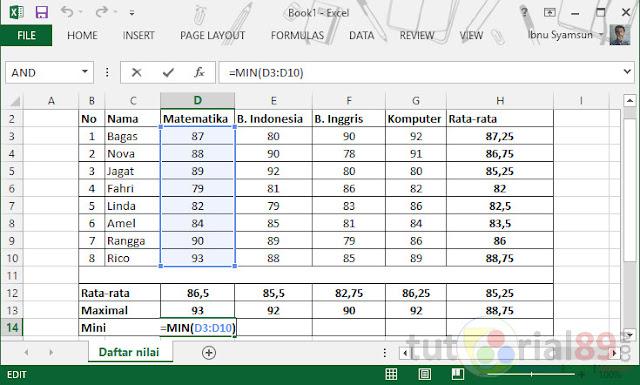 Cara menghitung nilai rata-rata, max dan min di excel
