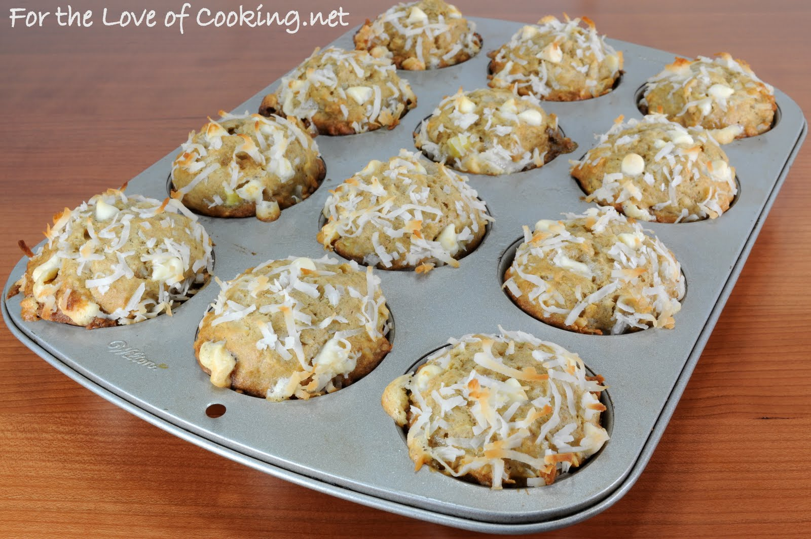 Banana, Coconut, and White Chocolate Chip Muffins | For the Love of ...