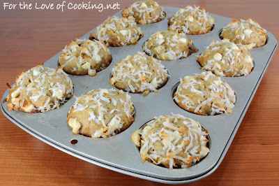 Banana, Coconut, and White Chocolate Chip Muffins
