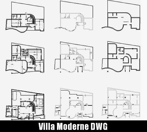 T l chargez les plans de cette villa moderne fichier for Villa plan dwg