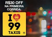 R$30 Off na primeira corrida no 99Taxis com Paypal
