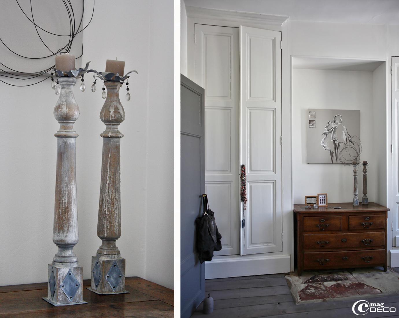 Toile et chandeliers en bois patiné et zinc, créations Béatrice Loncle et Geneviève Cazottes