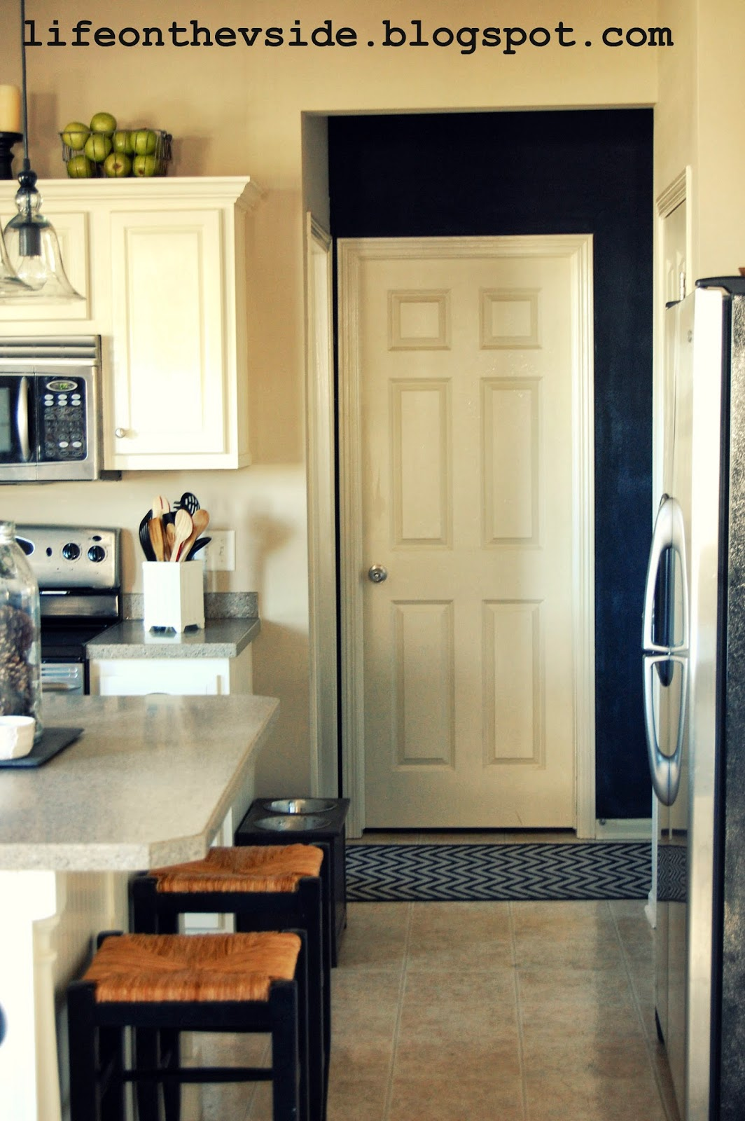 On the v side painted kitchen cabinets pros cons for Pros and cons of white kitchen cabinets