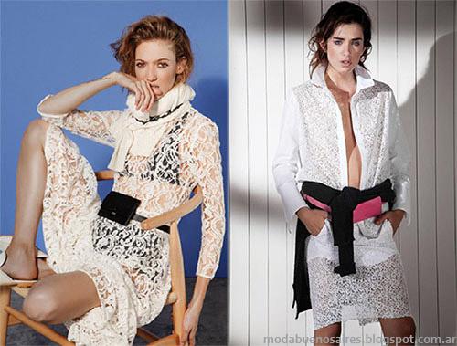 María Cher primavera verano 2015 vestidos y faldas de moda. Tendencias de moda 2015 texturas caladas.