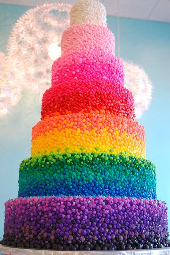 Candy in Weddings - Rainbow Candy Wedding Cake
