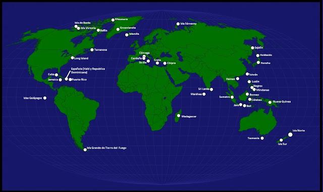 Mapa de los nombres de las Islas en el mapamundi