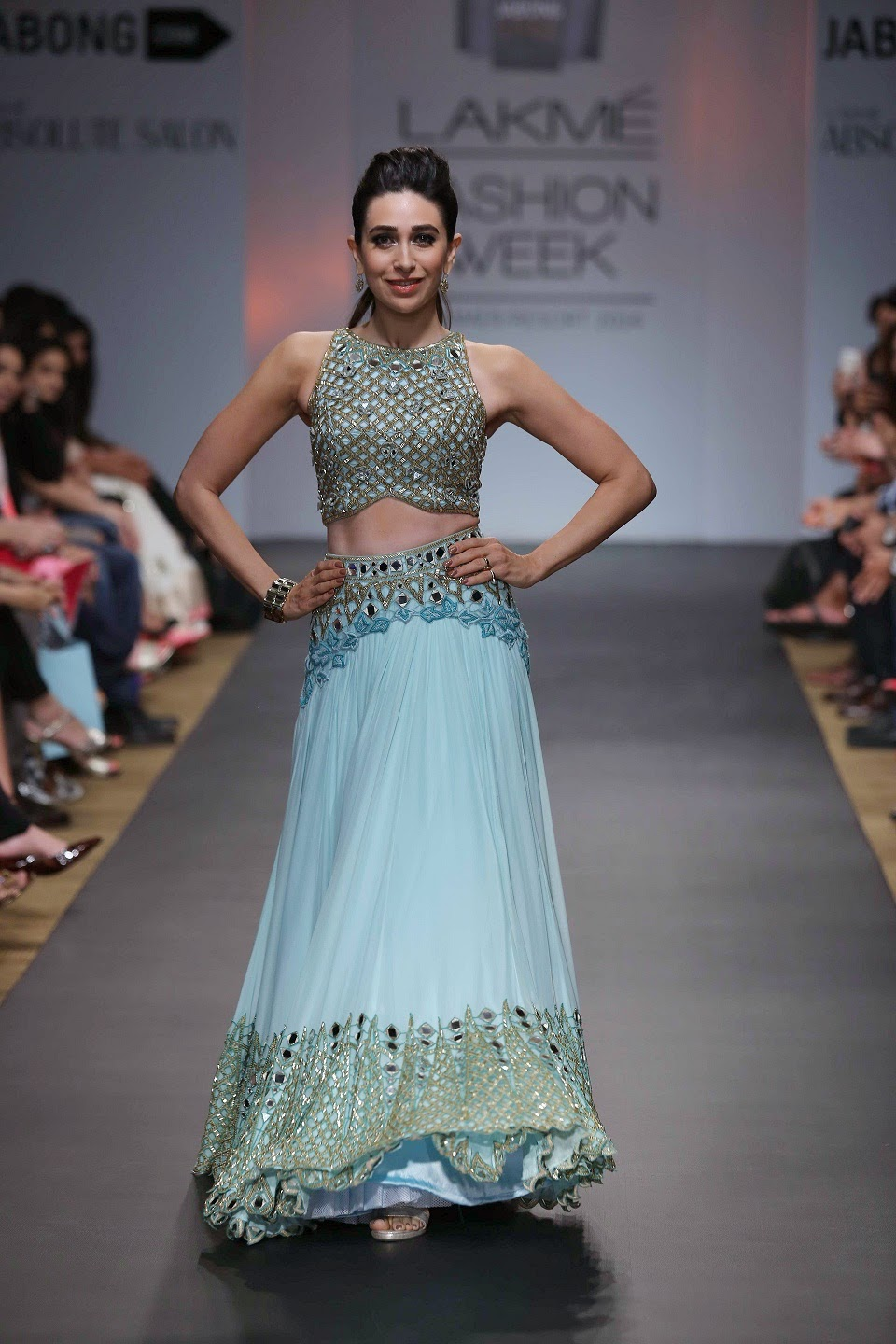 "The show stopper was gorgeous Karisma Kapoor who graced the runway in pistachio green lehenga, flaunting gold embroidery and mirror work. Iconic, traditional yet bold, Arpita Mehta's collection ""Paradiso"" will surely leave any fashion conscious Indian woman wanting more."