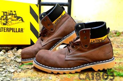 Sepatu Boots Safety Caterpillar Kulit Asli, kode CA1803