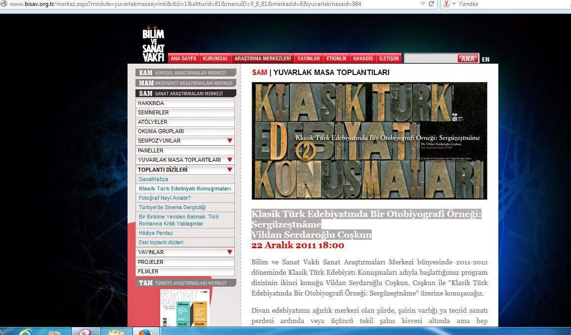 Vildan Serdaroğlu Coşkun Klasik Türk Edebiyatında Bir Otobiyografi