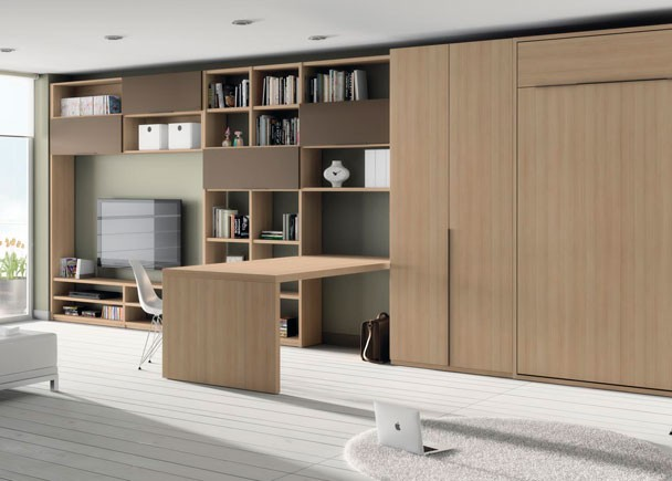 Camas abatibles y literas abatibles jjp for Dormitorios juveniles con escritorio incorporado