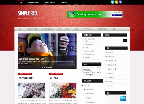 simple red seo ready blogger template 2014 2015 for blogger or blogspot