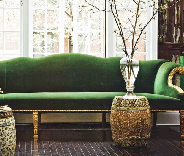 Decorating With Emerald Green: Heir And Space: I Want A Velvet Sofa