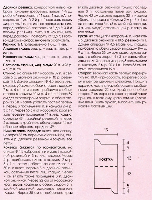 http://www.vyazemsami.ru// Блуза с перекрученной кокеткой Описание