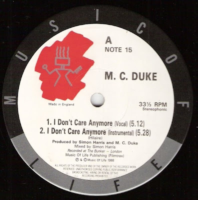 M. C. Duke* ‎– I Don't Care Anymore / Free (1988, VLS, 192)