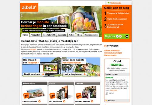 De homepage van Albelli.com