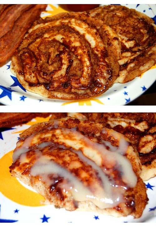 Delicious Cinnamon Bun Pancakes