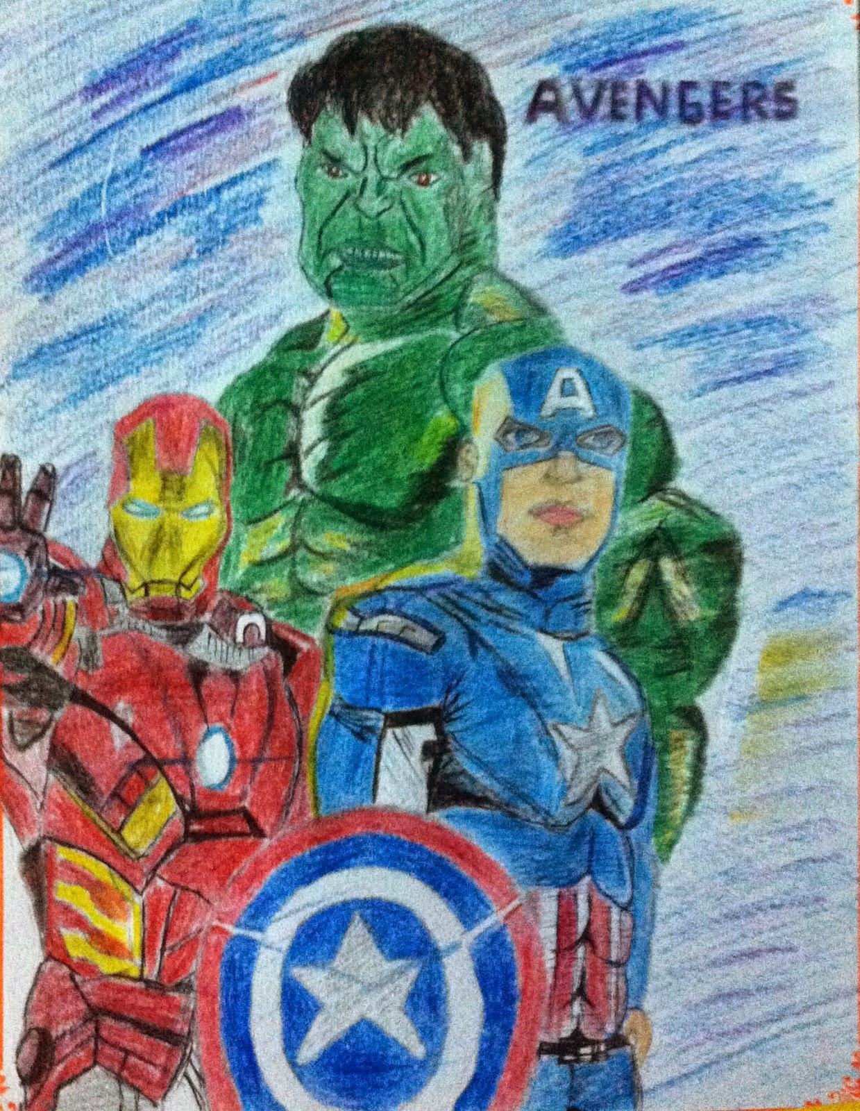 Realistic sketch of Avengers By Pencil Color