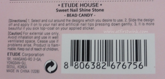 Etude House Sweet Nail SHine Stone Bead Candy