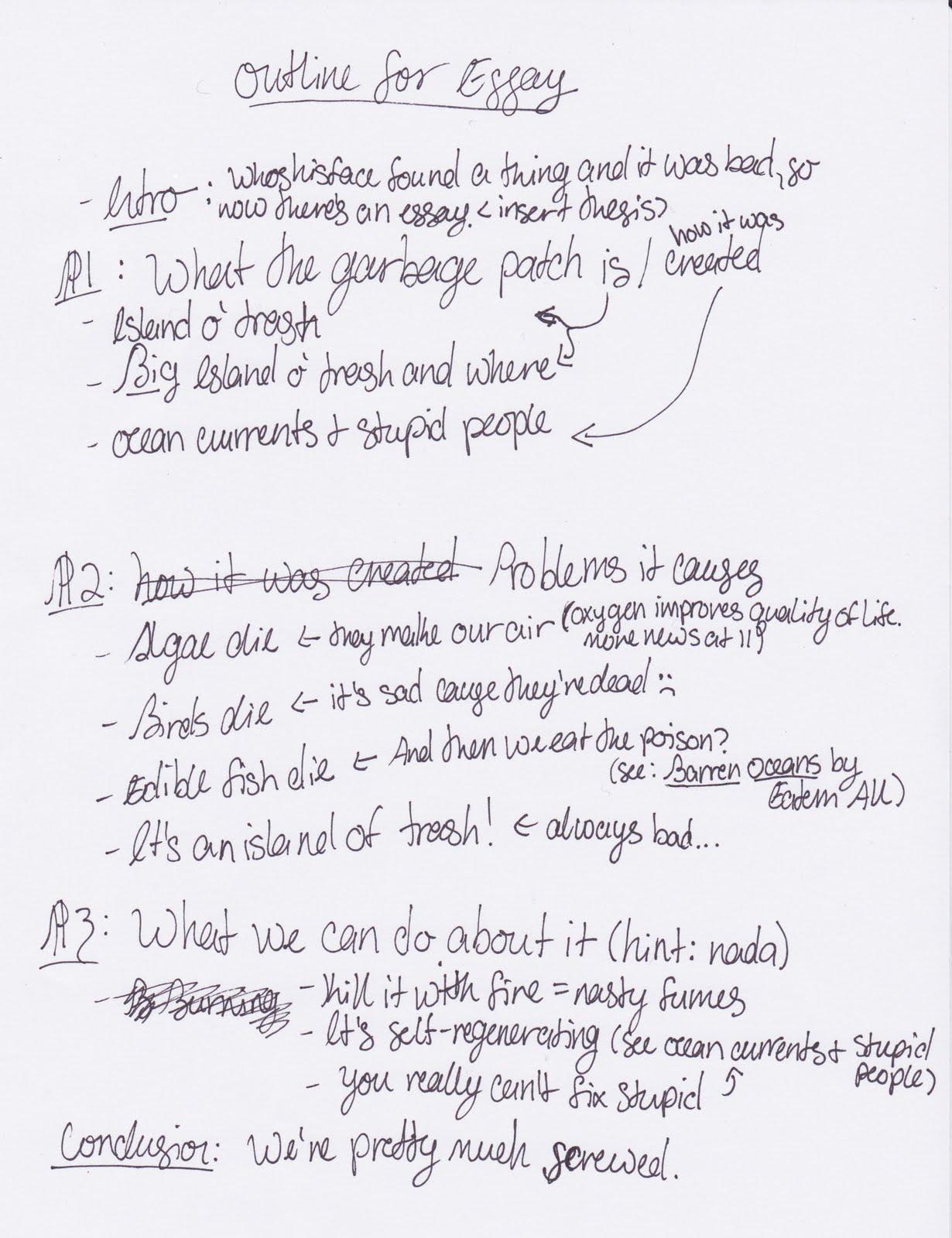 Notebook Paper Essay Outline