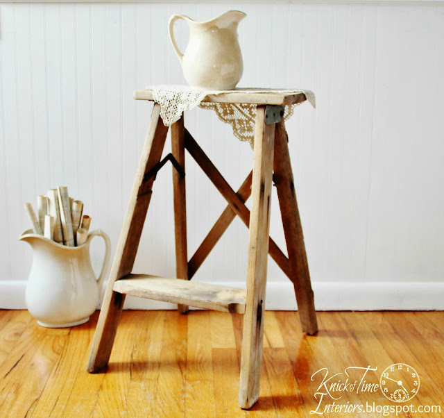 Antique Wooden Stepladder via Knick of Time Interiors