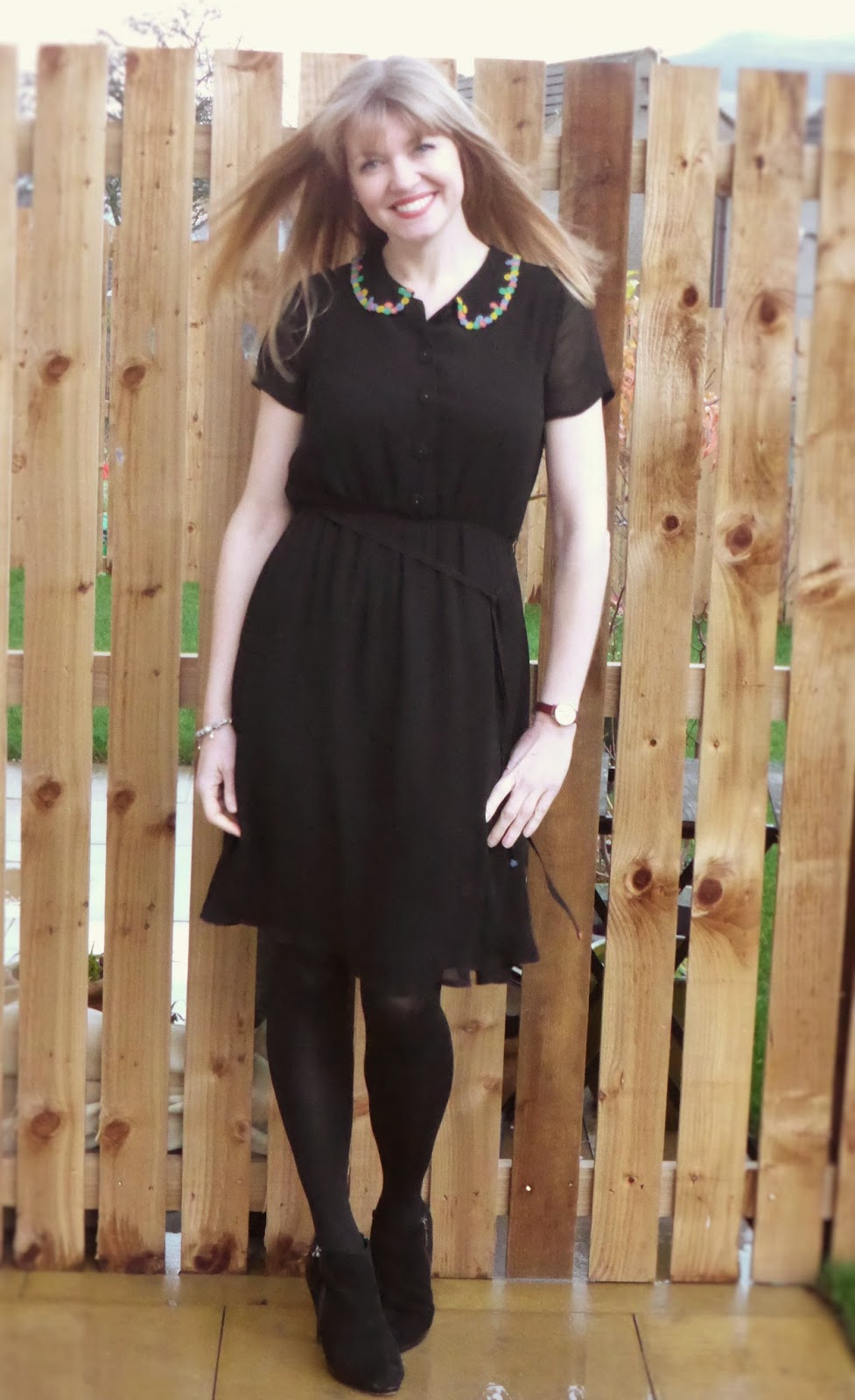 Black dress yellow heels - I Wore It Last Easter With Bare Legs And Yellow Heels Today I Wore It With Opaque Tights Heeled Ankle Boots And A Black Velvet Jacket