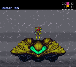 Screenshot of Samus standing on her ship in the SNES game Super Metroid