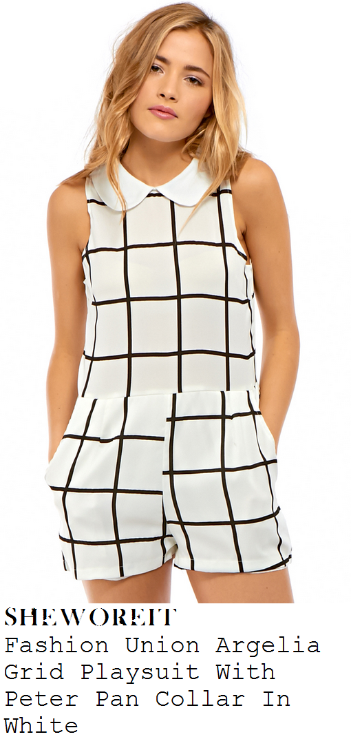 chloe-sims-white-and-black-monochrome-check-grid-print-sleeveless-peter-pan-collar-playsuit-farm