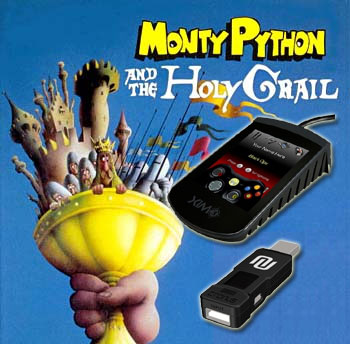 Image of Monty Python and the Holy Grail, overlaid with a XIM 3 and Cronus console and PC adapter.