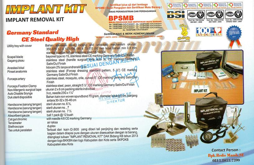alkes implant kit, distributor implant kit, implan kit, Implant Removal Kit, implant-kit, implant-kit dakbkkbn, pengadaan implant removal kit,