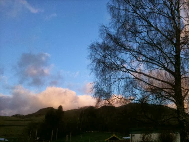 Blue Sky and pink clouds, Staveley, Cumbria