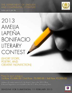 2013 AMELIA LAPEÑA BONIFACIO LITERARY CONTEST