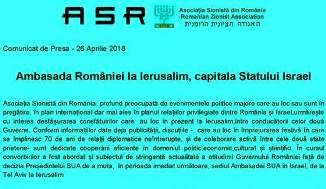 ✡ ASR: Comunicat de Presă 🔴 Ambasada României la Ierusalim, capitala Statului Israel