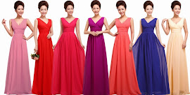 2014 New Release One-Design Multi-Color V-Neck Maxi Bridesmaids Dress