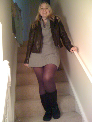 black leather jacket coloured colored tights