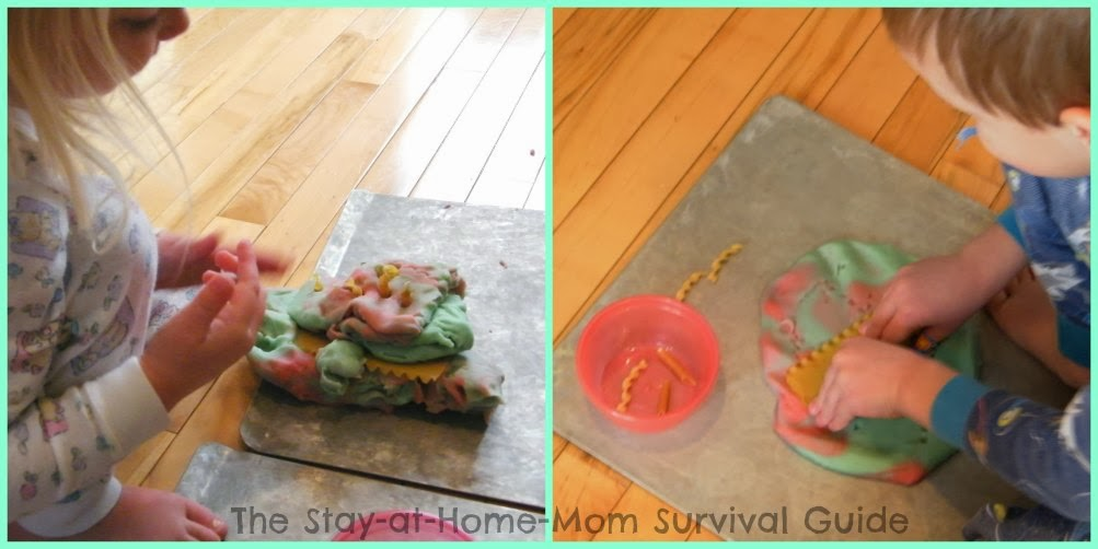 dry pasta and play dough fine motor sensory activity