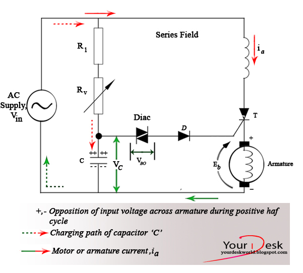 Speed control of series motor a simple half wave circuit for Universal motor speed control circuit