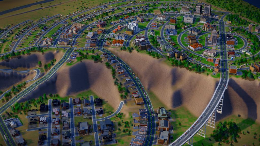 Расположение города в SimCity на разной высоте