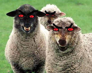 evil, sheep, red eyes