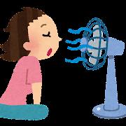 扇風機に当たる女性のイラスト